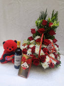 Luxury basket with dotted box hamlet chocolate, teddy bear and red wine