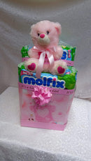 A hamper of a teddy bear and 2 packs of 80pc diapers by Simona Flowers