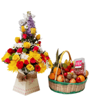 Perfect royal box bouquet and fruit basket