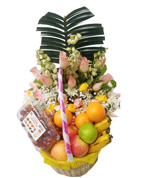 Pinky combo Flower Fruit basket