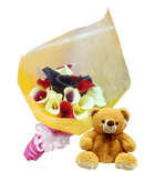 Pure Heart hand bouquet and teddy bear