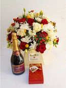 Simply gorgeous package - Royal box flower arrangement, Chamdor wine, Guylian chocolates by Simona Flowers