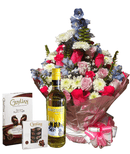 Trendy water bouquet with wine and chocolate
