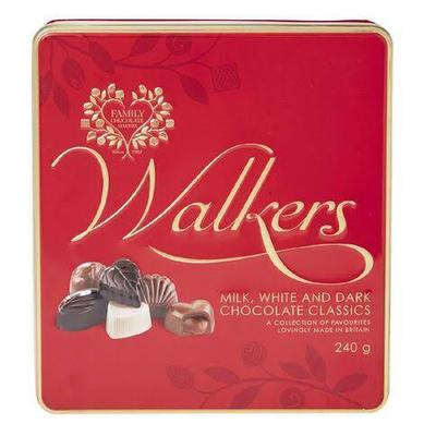 Walkers milk, white and dark chocolate classics 240g tin- Simona Flowers