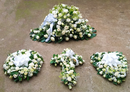 White standard funeral flowers set by Simona Flowers