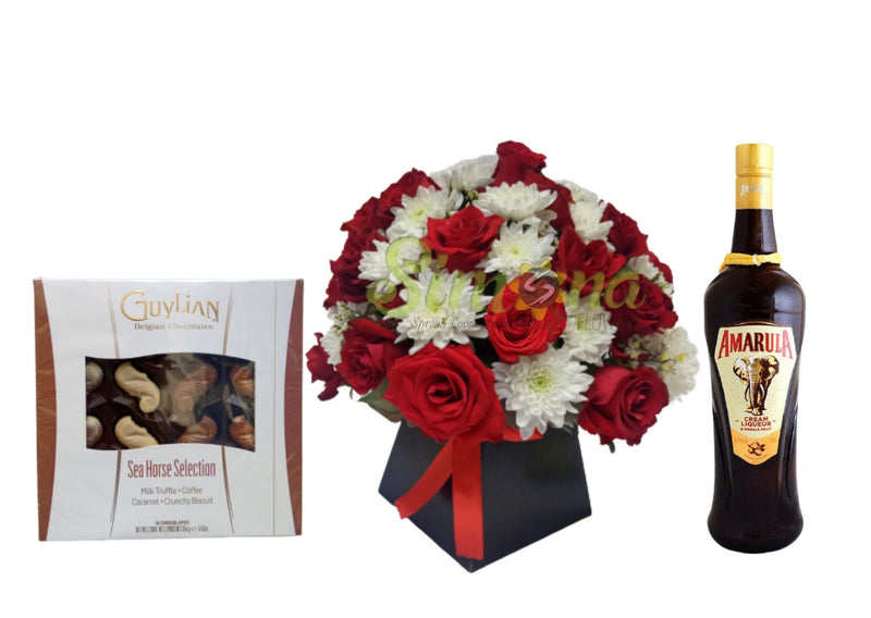 Royal box flowers, Amarula and chocolate