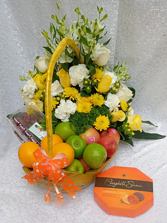 Floral fruit basket and chocolate combo by Simona Flowers