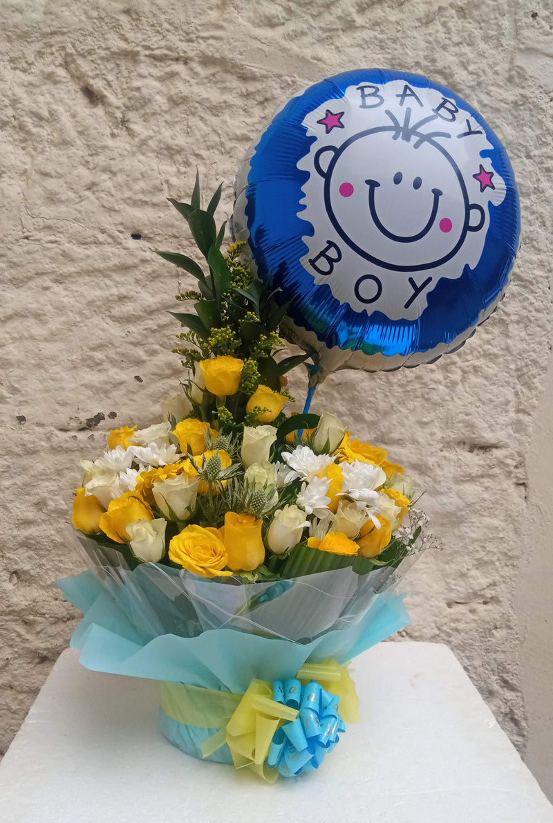 Golden boy flower arrangements and balloon for new born baby boys by Simona Flowers