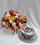 Royal box flowers wine and cake by Simona Flowers