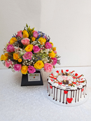 Magnificent roses bouquet and cake