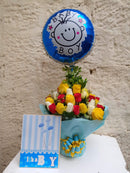 New Prince ballooned water bouquet of roses and fillers by Simona Flowers