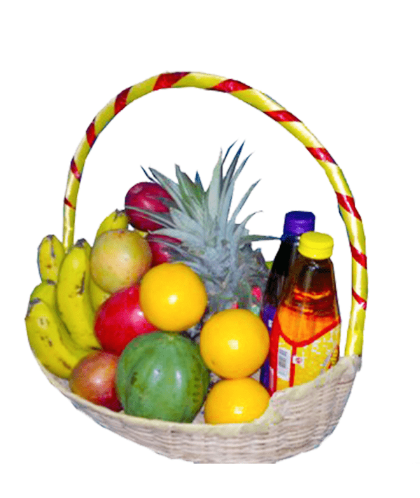 Sunshine Fruit basket with juice.