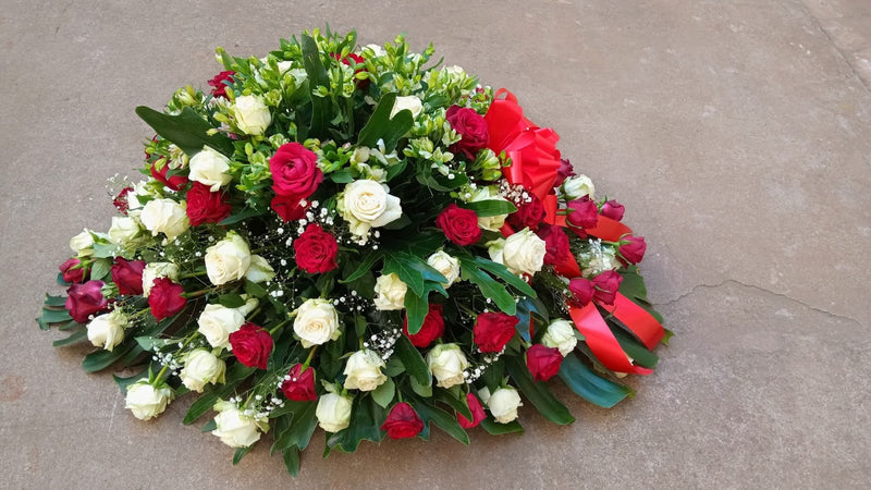 Standard red and white casket