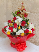 A brightly colored water bouquet design of Chrysanthemums and a touch of roses - it also has few stems of orchids