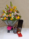 Truly stunning bouquet, Jack Daniels whiskey and chocolates by Simona Flowers