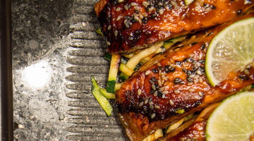 Mustard, ginger and sesame seed salmon