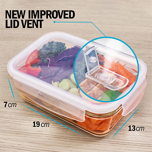 1 Compartment Glass Meal Prep Containers with Steam Vent Lids - 5 Pack + 1 Spare Lid