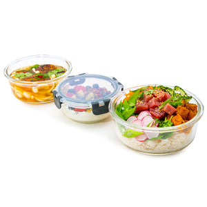 Round Glass Meal Prep Containers with Locking Lids - 3 Pack