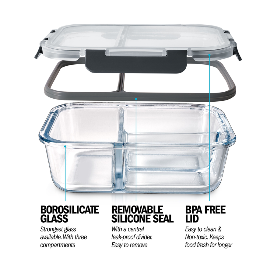3 Compartment Glass Meal Prep Containers with Locking Lids - 3 Pack