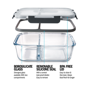 2 Compartment Glass Meal Prep Containers with Locking Lids - 3 Pack