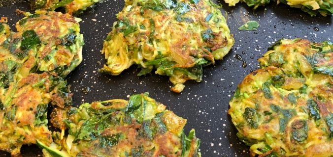 Courgette and spinach fritters