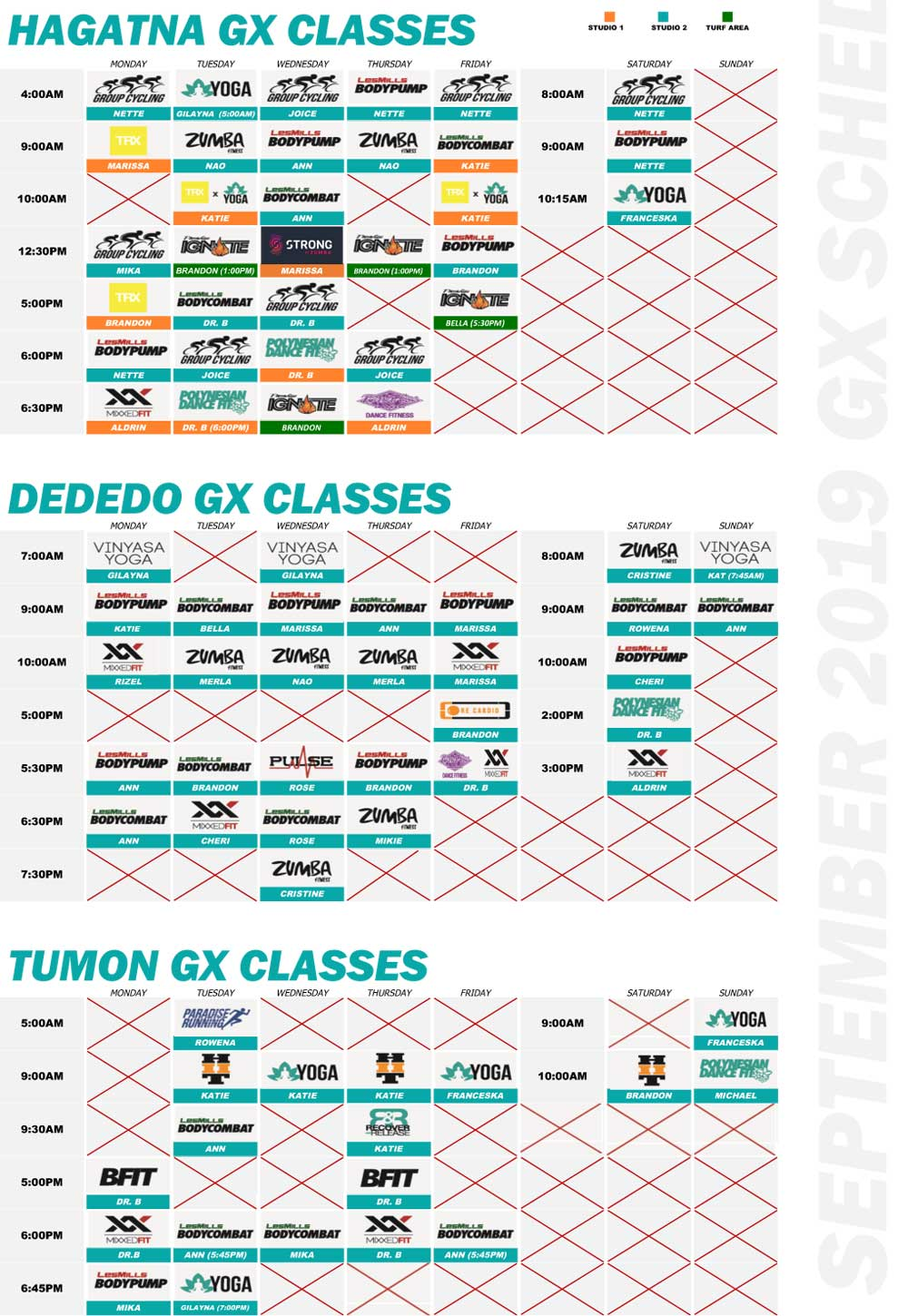 2019 September Paradise Fitness GX Schedule