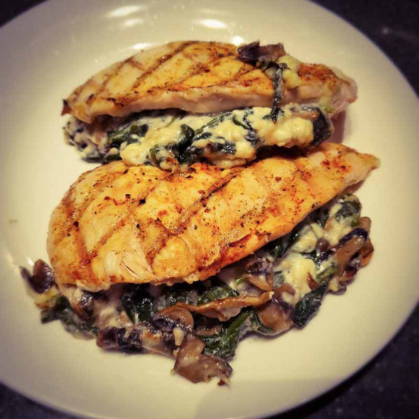 Spinach Mushroom Feta Stuffed Chicken Breast
