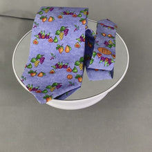 Load and play video in Gallery viewer, DUNHILL Mens Blue 100% SILK Still Life Fruit Graphic TIE - Made in Italy