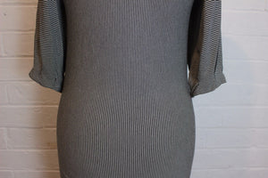 TED BAKER Monochrome Striped BISHI Jersey DRESS Ted Size 2 - S  Small - UK 10