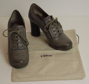 CHLOÉ Oxford High Heeled Calf Leather Lace-Up Platform Pumps Size 36.5 - Chloe