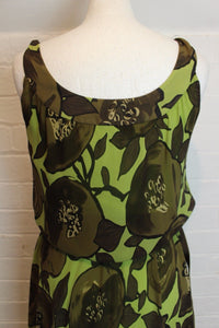 MOSCHINO Ladies Green 100% Silk Floral Pattern Dress - Size IT 42 - UK 10