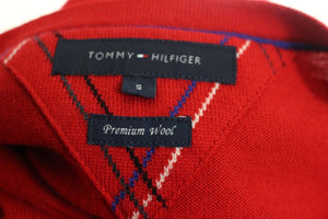 TOMMY HILFIGER Mens 100% PREMIUM WOOL Red JUMPER - Size Small – S