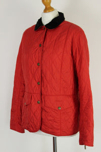BARBOUR Ladies QUILTED Red TAILOR QUILT JACKET / COAT - Size UK 14 - US 10