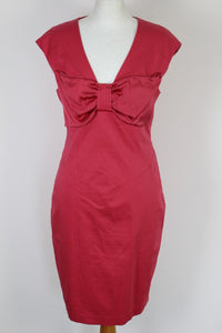 TED BAKER Pink NICCI Bow Detail DRESS - Ted Size 3 - UK 12 - Medium - M