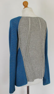 HELMUT LANG Ladies Blue and Grey Knitted JUMPER - Size Medium - M