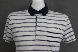 HUGO BOSS Mens White Striped REGULAR FIT BELLANO POLO SHIRT - Size Small - S
