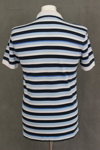 HUGO BOSS Mens Blue Striped REGULAR FIT FIRENZE POLO SHIRT - Size Small - S
