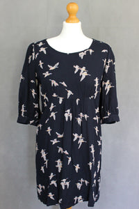 JOULES Ladies MARNAVY WICKMERE Bird Pattern DRESS - Size UK 10 - US 6 - EU Small