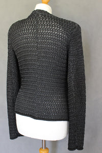 EMPORIO ARMANI Ladies Dark Grey Open Knit CARDIGAN - Size IT 40 - UK 8