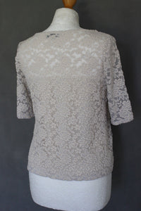 ALICE TEMPERLEY Ladies Lace Detail Short Sleeved Top - Size UK 12