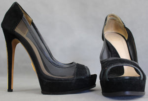 HERVE LEGER Ladies Black Open Toe COURT SHOES / PUMPS - Size EU 37 - UK 4 - US 6