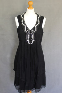 TEMPERLEY LONDON Black Silk EMBELLISHED DRESS Size UK 12 - US 8 ALICE TEMPERLEY