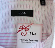 "Load image into Gallery viewer, HUGO BOSS Mens Pink Stitch Pattern SHIRT - Size 16"" Collar - EU 41 - Large L"