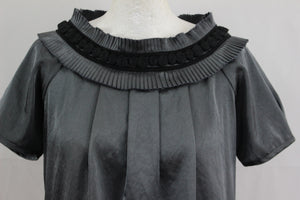 RESERVED Ladies Grey TOP with Neckline Embellishment - Size 38 - UK 10