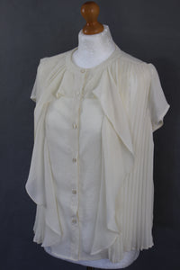 CHLOÉ Ladies Ivory Pleated Sheer Shirt / Top Size FR 40 - IT 44 - UK 12 - See by Chloe