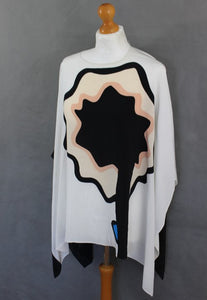 ISSA London Ladies White SILK Abstract Floral Design PONCHO TOP - One Size