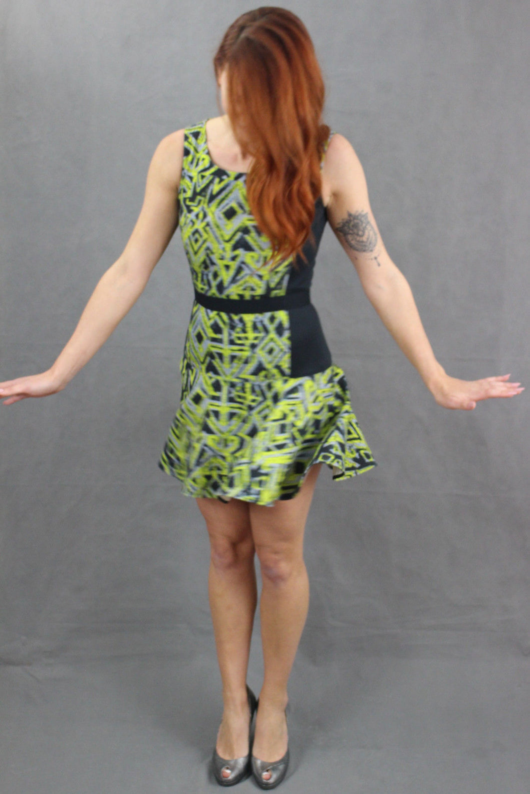 PINKO TAG Ladies Green & Black Party DRESS Size IT 42 - UK 10 - US 6