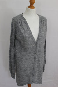 PINKO Ladies VIRGIN WOOL Blend Fine Knit Grey CARDIGAN Size Small - S