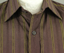"Load image into Gallery viewer, PAUL SMITH Mens Brown SHIRT with Vibrant Green Stripes - Size 15"" Collar - Small S"