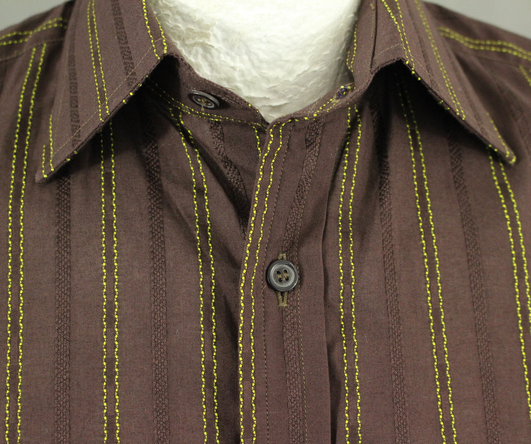 PAUL SMITH Mens Brown SHIRT with Vibrant Green Stripes - Size 15